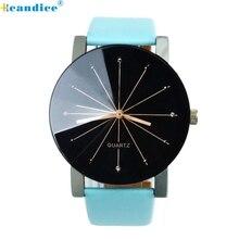 Hcandice 1PC watches for ladies Males Quartz Dial Clock Leather-based Wrist Watch Spherical Case Good Reward June02