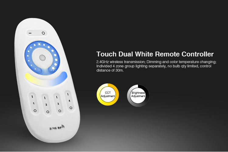 <font><b>FUT091</b></font> 2.4GHz Dual white CCT Full Touch 4-zone Remote Controller Dimmer for 5050 3528 5630 warm white/white led strip light image
