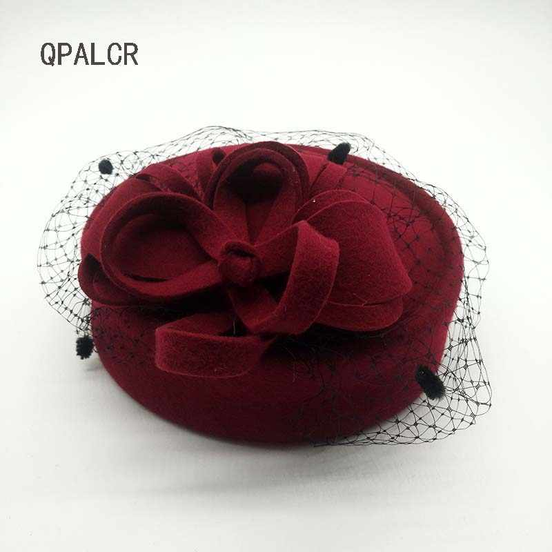 Women Fascinators Pillbox Wool Hat Mesh Floral Winter Vintage Felt Festival Party Wedding Ladies Fedoras with Fascinating Floral