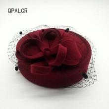 58d3976ca76d4 Mujeres Fascinators Pillbox lana sombrero malla Floral invierno Vintage  fieltro fiesta boda damas Fedoras con flores