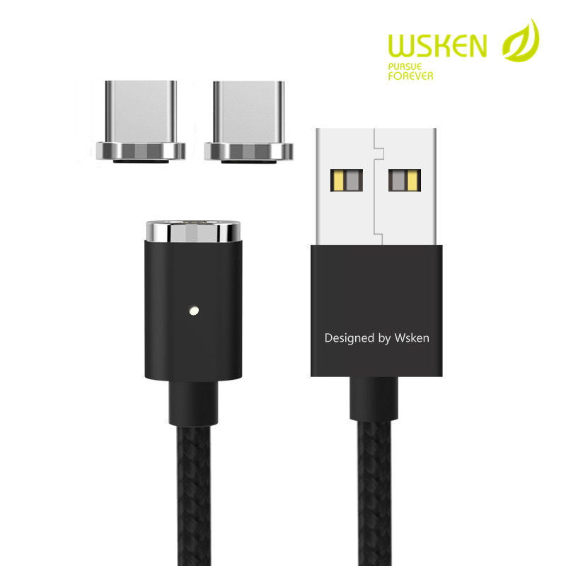 WSKEN Mini 2 Magnetic Type C USB Data Cable Fast Charging Led Charger Cable Magnet Adapter For Samsung S8 Xiaomi MacBook C Cable