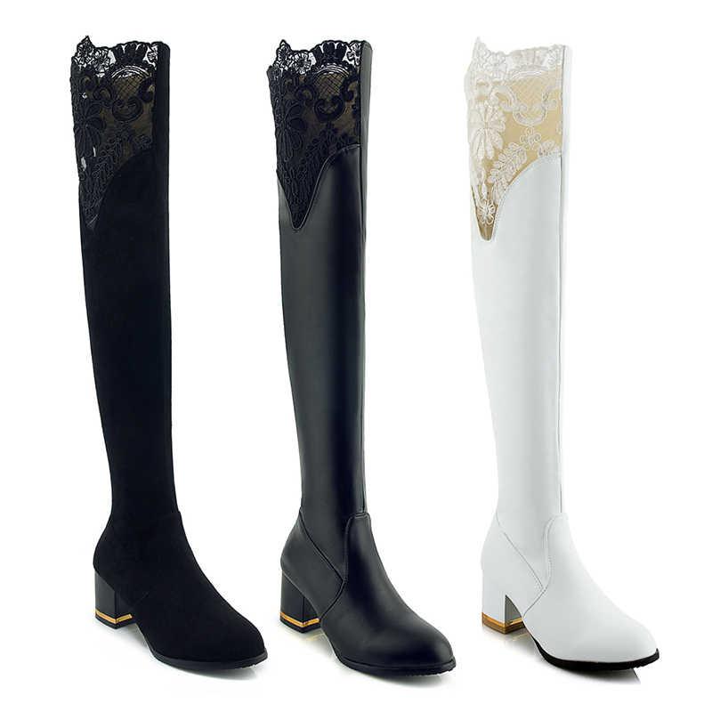 WETKISS Kalın Yüksek Topuklu Streç Kadın Çizmeler Yuvarlak Ayak Dantel Ayakkabı Diz Pu Kadın Çizme Zip Ayakkabı Kadın 2018 Kış