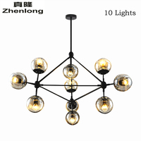 Loft Minimalist Chandeliers Beanstalk LED Retro Lamps Art Crystal Decoration Lights E27 Industrial Glass Chandelier For