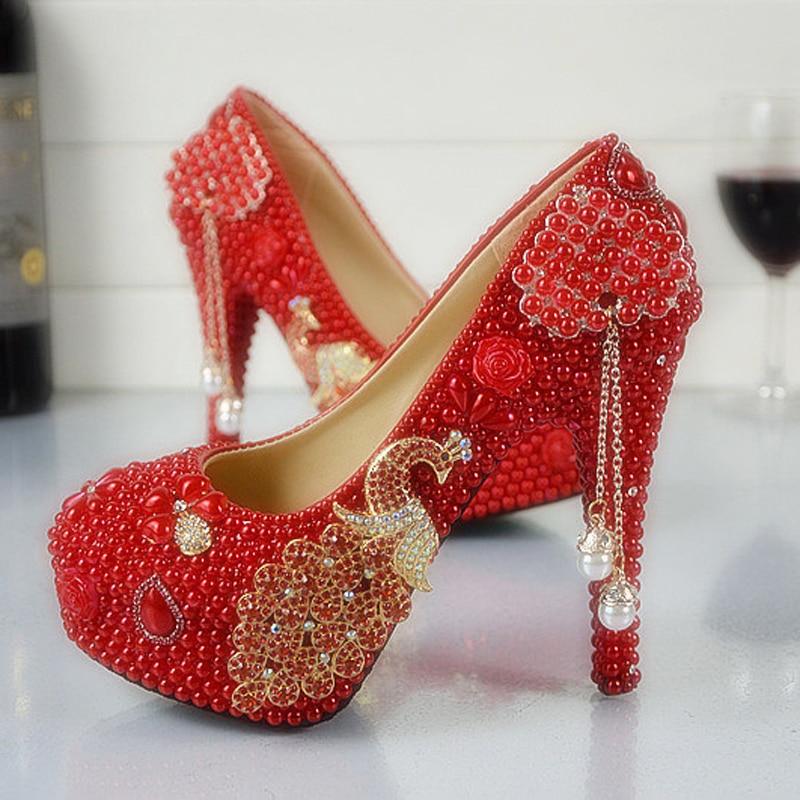 Wedding shoes red pearl stiletto heel bridal dress shoes for Red dress shoes for wedding