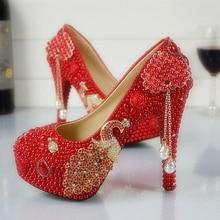 Свадебная Обувь Красный Жемчуг Шпильках Свадебные Туфли с Феникс Невесты Обувь Золушка Пром Насосы Плюс Размер
