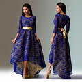 Summer dress Women Lace Long Dress 2016 Fashion Three quater Sleeve Dovetail  Hollow Out Maxi Elegant Dress With Belt QL2130