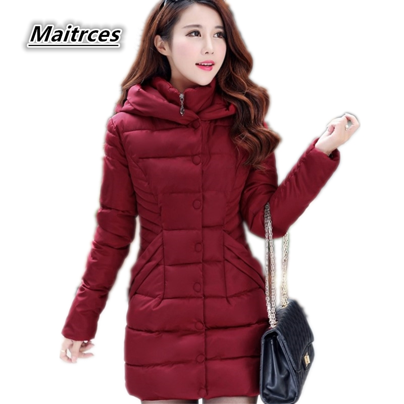 Winter Down Jacket Women Thick Cotton   Parka   Ladies Slim Warm Jacket 2018 NEW Fashion Large Size Female Hooded Coats MF002