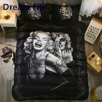 Dream NS Immortal Beauty Marilyn Monroe Bedding Set Elegant Skull Duvet Cover Pillowcase Cozy Bedclothes AU