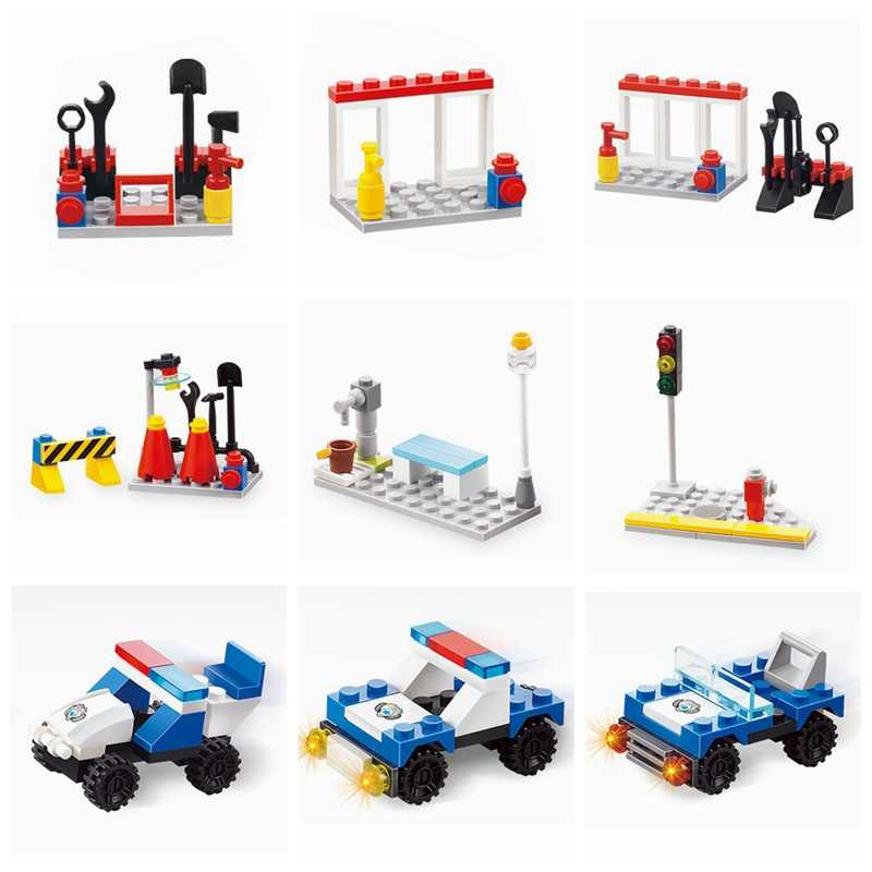 Legoing City Police Traffic Light Fireman Tool Model Building Blocks Toys for Children City Legoing Block Toy Car Gifts
