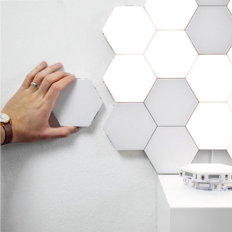 led hexágono luz magnética modular toque lâmpada