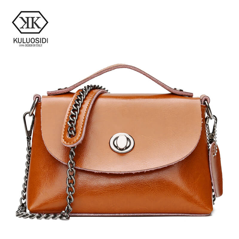 KULUOSIDI Vintage Small Flap Bag Fashion Solid Women Messenger Bags Genuine Leather Handbags High Quality Chains Shoulder Bags women messenger bags genuine leather single shoulder bags solid small flap women handbags mini classic box