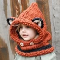 Novelty Winter Crochet Children Hat Neck Warmer Wrap Scarf One Piece Winter Warmer Wrap Cute Children