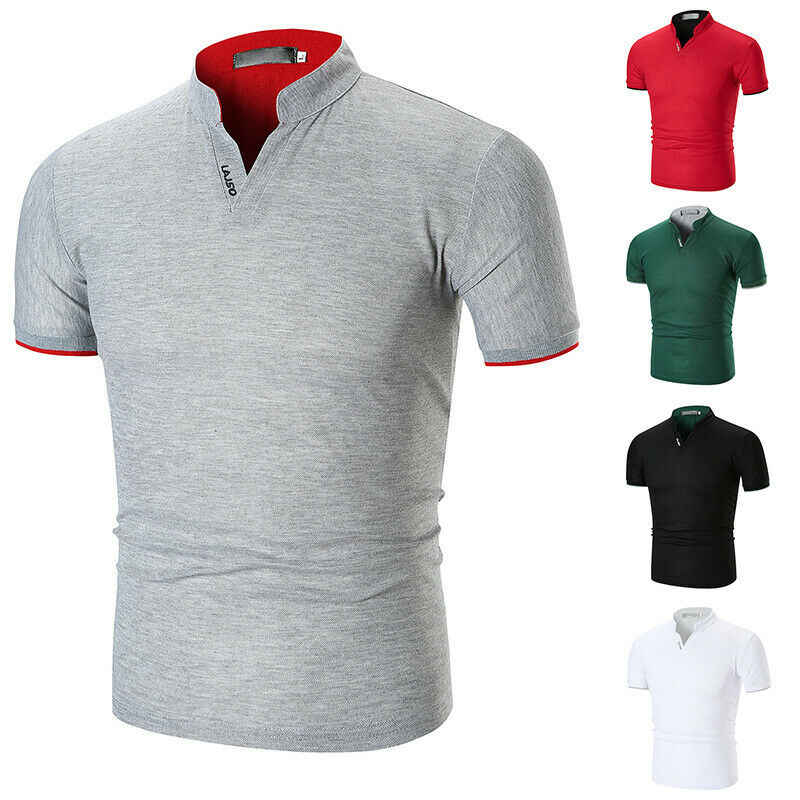 Hot Mens Solido Camicia di Cotone Slim Fit Manica Corta Con Scollo A V casual Estate Top Muscolare casual Maschio di Modo di Estate Della Camicia di Base tee