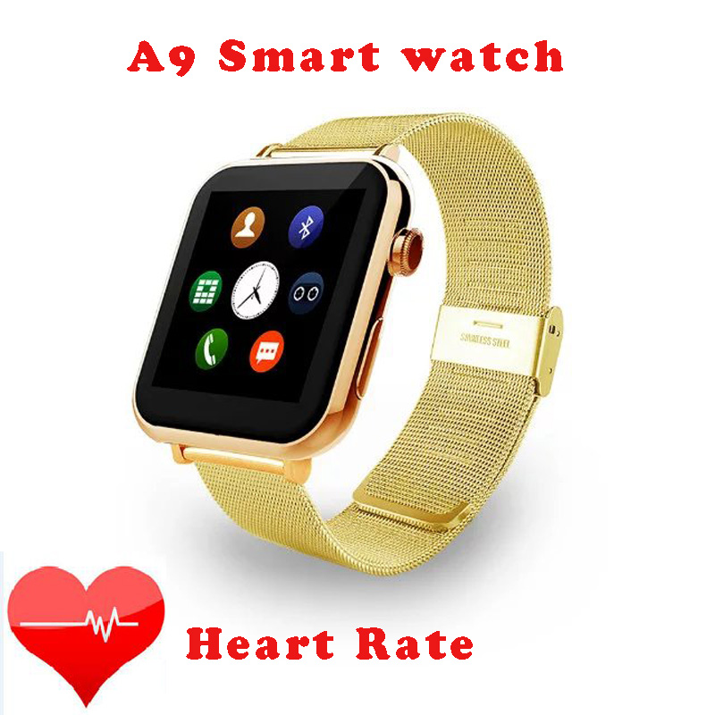 2016 New Stainless Steel Wristband Heart Rate font b Smartwatch b font A9 Bluetooth watch for