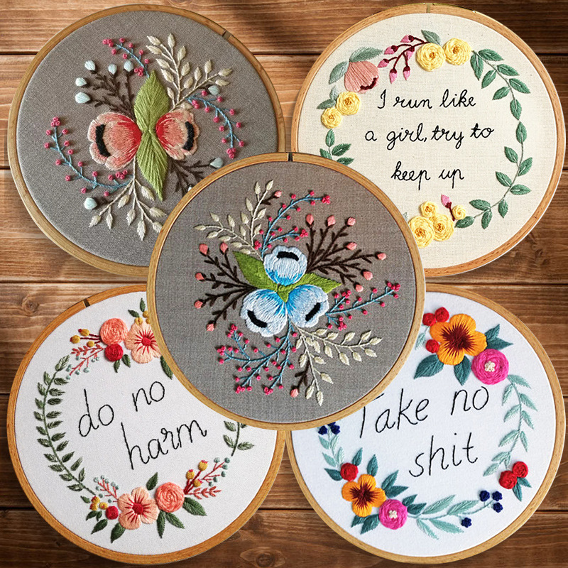 DIY 3d Ribbon Embroidery Set with Frame for Beginner Needlework Kit Cross Stitch Series Arts Crafts Sewing Decor Novice Practice