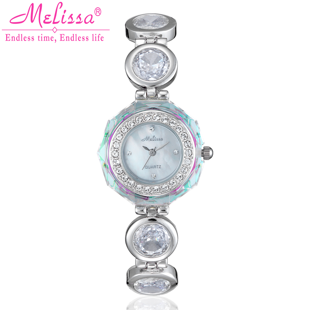 Melissa Luxury Crystal Lady Women's Watch Japan Quartz Top Fashion Dress Steel Bracelet Rhinestone Girl Birthday Gift fashion modern silver crystal flower quartz pocket watch necklace pendant women lady girl birthday gift relogio de bolso antigo