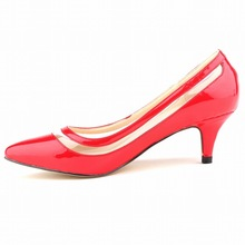 2015 Fashion Dress  Women  Summer Pumps Slip – On Plastic & Soft Leather PU(PU) Pointed Toe  Basic Med Thin Heels Pumps