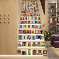 ECO friendly PVC DIY Simulation windows wall stickers Stairway sticker Bedroom Living room wall creative background decoration