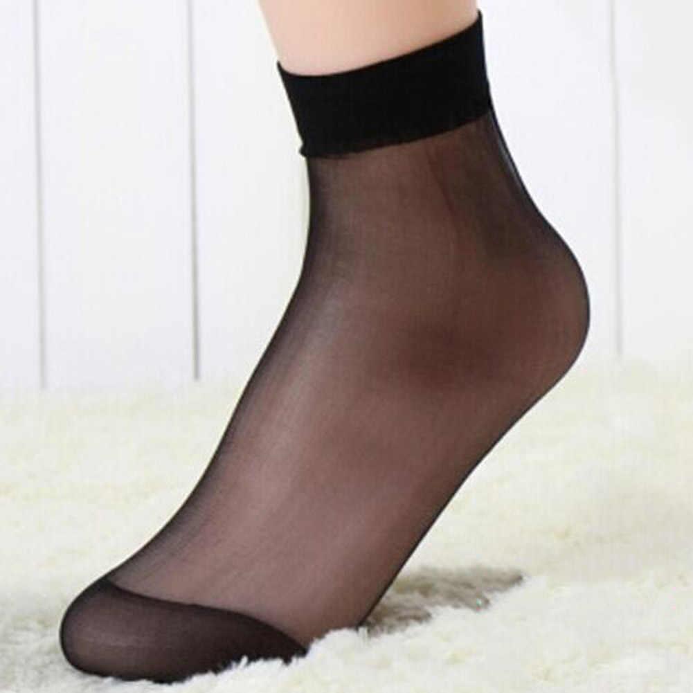 1/ペア夏セクシーな超薄型透明なクリスタルシルク靴下女性高弾性黒ナイロンショートソックス女性靴下