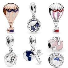 New Arrival 100% 925 Sterling Silver Beads Hot Air Balloon Globe Trip Charms fit Original Pandora Bracelets Women DIY Jewelry