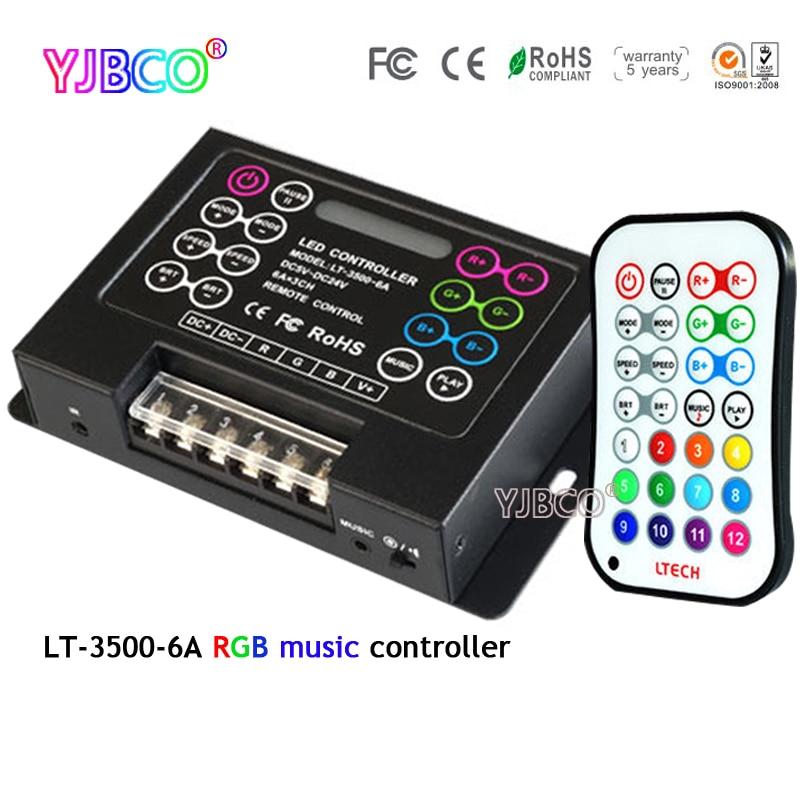 цена на DC5-24V LT-3500-6A LED RGB Music Controller&wireless remote control for full color RGB led strip led module led light