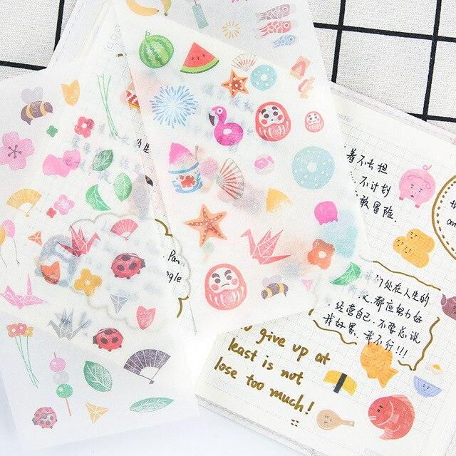 Cute Cartoon Design Floral Japan Theme Paper Stickers Pack 816cm