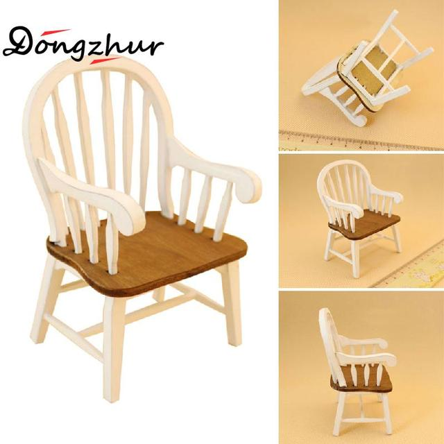 Dongzhur White/Red Colored Curve Armchair 1:12 Doll House Miniature Dollhouse  Furniture Wooden