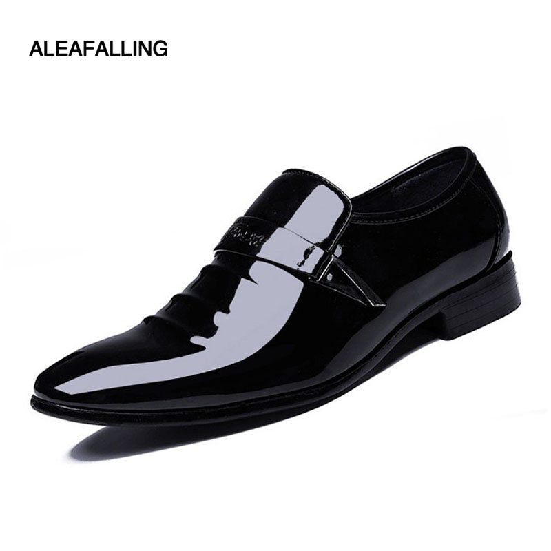 Aleafalling Shinny Men Formal Shoes Pointed Toe Office Party Patent Leather Oxford Shoes Men Dress Shoes Business 38-48 MDS18 2016 new men s fashion genuine leather shoes wedding dress dancing formal office party shoes pointed elastic belt patent brandy
