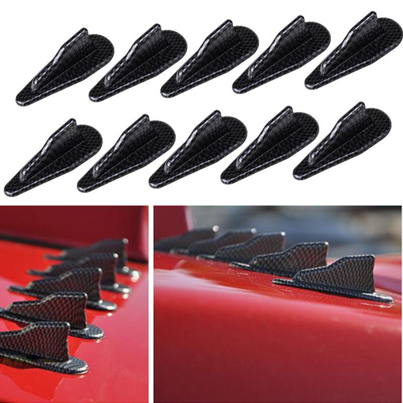 Universal EVO-Style PP Roof Shark Fins Spoiler Wing Kit Vortex Generator Black Q