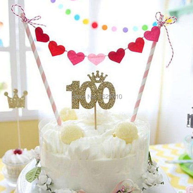 Aliexpress.com : Buy Creative Cake Bunting Banner Topper 100 Heart Flag Birthday Party Supplies