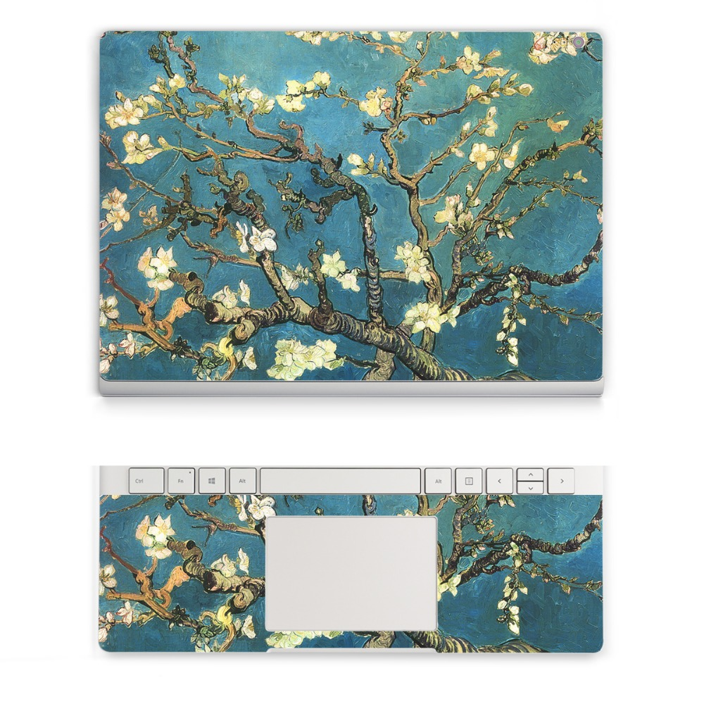 YCSTICKER - 2018 New Laptop Sticker For Surface Book 13.5 2015 Top & Wrist Pad Vinyl Decal Colorful Flora Skin Logo Cut