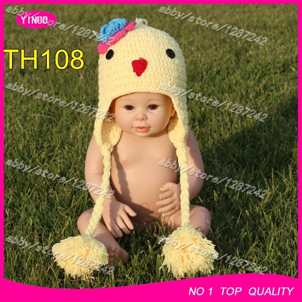 Free Shipping 5pcslot Pom Pom Beanie Hats Crochet Chicken Pattern