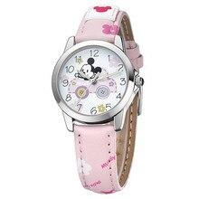 Disney бренда Детей Кварцевые часы 30 м водонепроницаемый дети часы Девушки Микки Мультфильм Аниме Световой кожа Pu