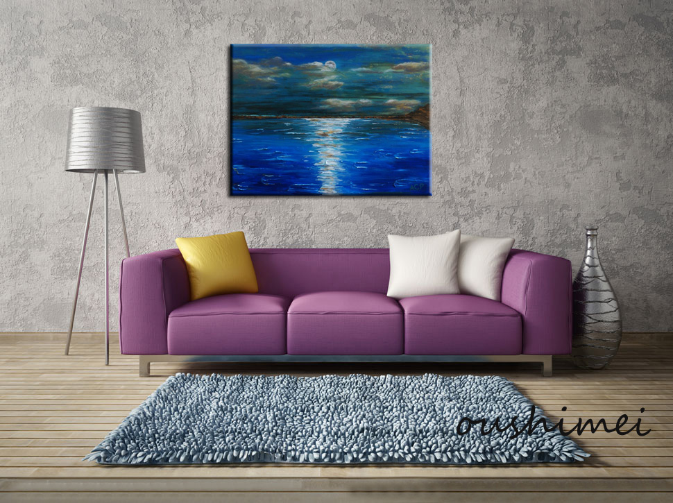Peaceful Surface of The Lake Under Moon Light-Feel the Wind Skim Over - Home Decor - Photo 2