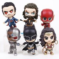 Justice League Superman Batman Wonder Woman The Flash Aquaman Cyborg PVC Figures Toys 6pcs/set 10~12cm