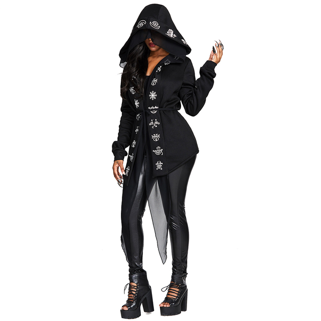 Rosetic Gothic Long Hooded Cape Coat Women Casual Top Autumn Oversized   Black Printed Slim Female Black Hooded Outerwear Coats 1