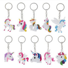12Pcs Unicorn Party Rubber Bangle Key Chains Kids Favors Birthday Bracelet Baby Shower DIY Colorful horse Party Decor Supplies(China)