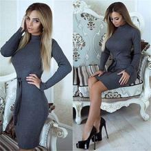 Autumn Winter Dress Long Sleeve Slim Office Dresses Solid Knitted Dress Vestidos WS4681E