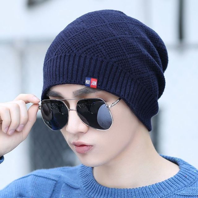 c8e95fc823ff7 Male knitted hat winter hat warm autumn and winter plus velvet knitted hat  ear protector cap