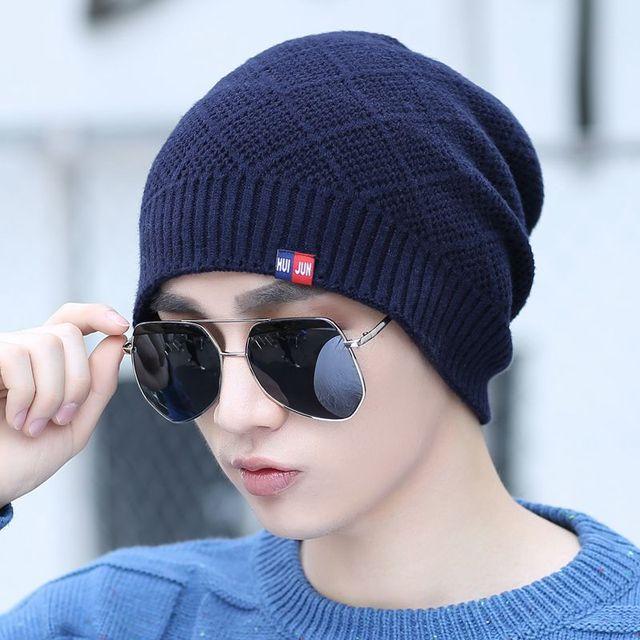 Masculino invierno sombrero hecho punto sombrero caliente del otoño y el invierno, además de terciopelo sombrero hecho punto sombrero bolsillo tapón protector auditivo masculino al aire libre