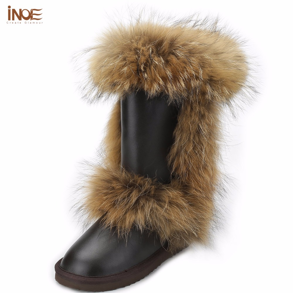 INOE Fashion fox fur real sheepskin leather fur lined high snow boots for women winter shoes tall boots waterproof high quality inoe fashion fox fur real sheepskin leather long wool lined thigh suede women winter snow boots high quality botas shoes black
