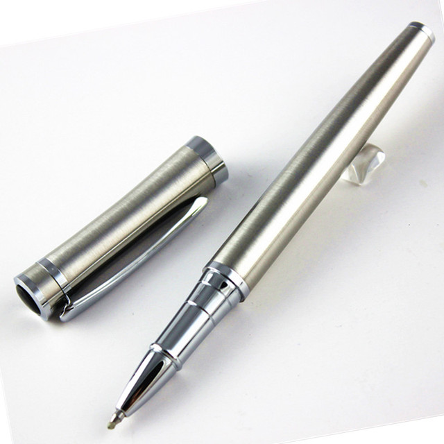 Fashion gentleman stainless steel roller ball pen School Office Stationery mon brand writing pen