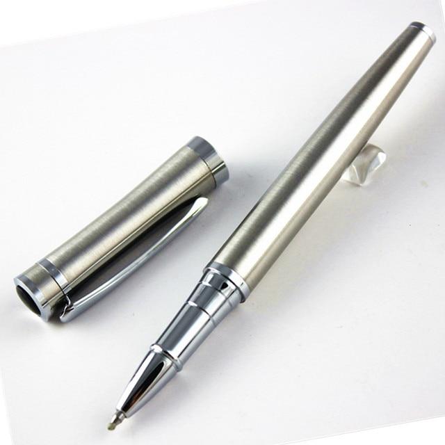 Fashion gentleman stainless steel roller ball pen School Office Stationery mon brand writing pen