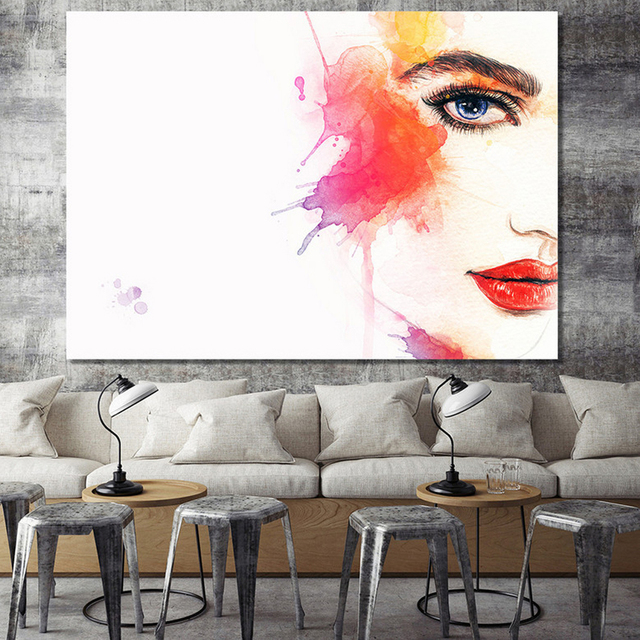 xdr012 bunte abstrakte frauen aquarell bilder drucken malerei auf leinwand wand kunst wohnkultur. Black Bedroom Furniture Sets. Home Design Ideas
