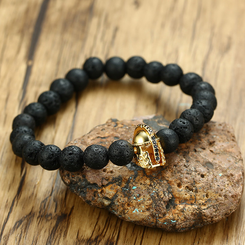 Vnox Knight Helmet Charm Bracelet for Men Lava Stones Beaded Chain CZ Stone Stainless Steel Male Warrior Jewelry Elastic Stretch