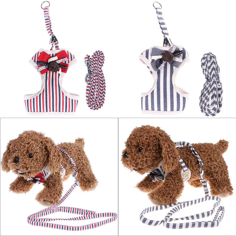 Pet Dog Harness Bowknot Stripe Mesh Adjustable Harness for Small Dogs Puppy Traction Animals Pet Products S/M/L