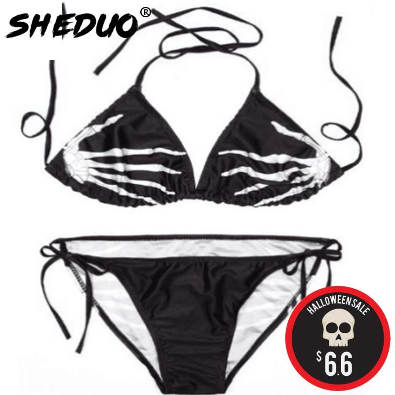 Bikinis Set Plus Size 2017 Sexy Women Ghost Hand Print Swimsuit Halter Bathing Suit Skeletons Print Design Swimsuit Biquini