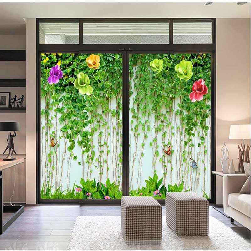 Personalizzato fiore della vite scorrevole adesivi per porte adesivi Armadio A Specchio adesivi Window film Ascensore adesivi per porte In Vetro pellicola