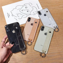 Wrist strap glitter luxury design case for iphone7 7plus 8 8plus x xr xs max 6 6s plus 7 girl wristband soft cover keychain ring