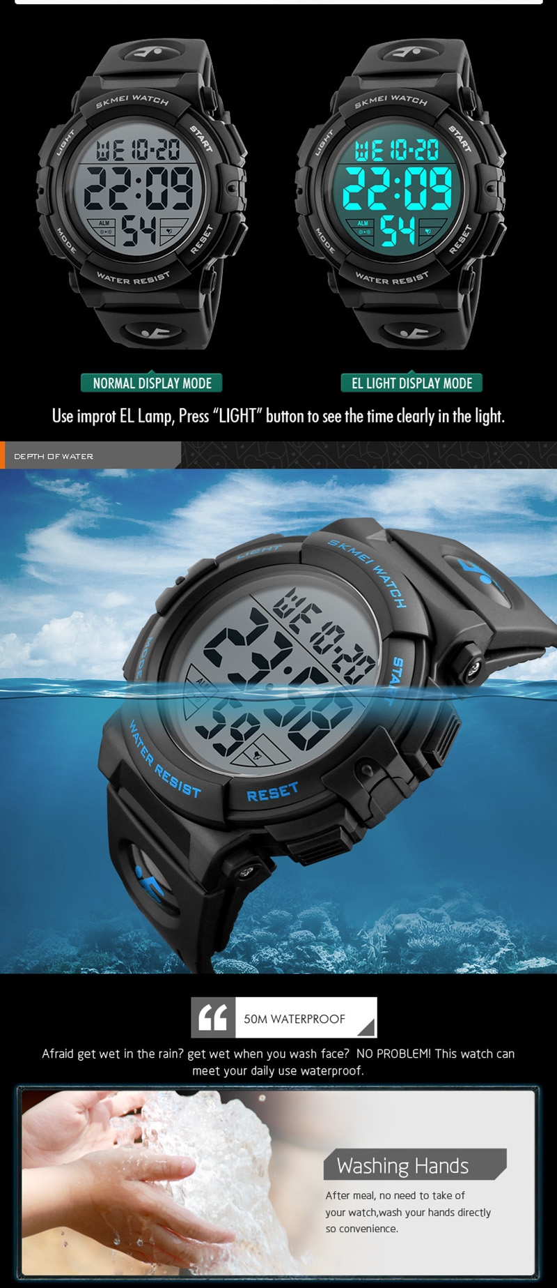 Men Watch Top Luxury Brand Sport Watch Electronic Digital Male Wrist Clock  Man 50M Waterproof Men's Watches reloj hombre SKMEI